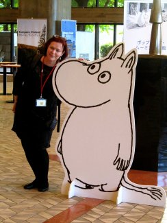 A Moomin in Tokyo with Tour Manager Mary Tregellas